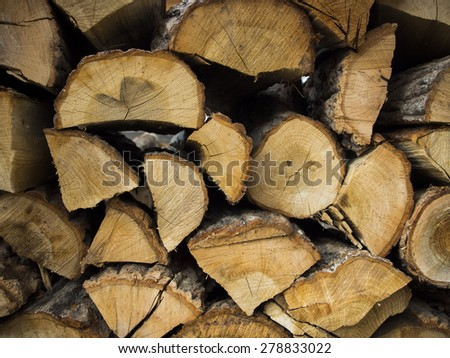 Dry chopped firewood logs stacked up