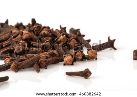 Dry cloves isolated on white background.