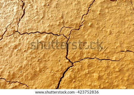 Dry cracked earth:Close up,select focus with shallow depth of field:ideal use for background. - stock photo
