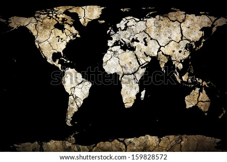 Dry Cracked Planet Earth Map - stock photo