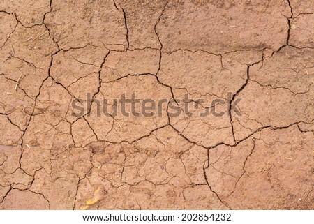 Dry cracked soil closeup before rain. - stock photo