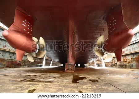 dry dock - stock photo