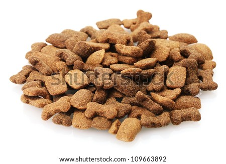 dry dog food isolated on white - stock photo