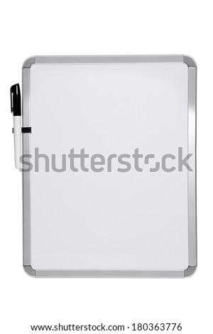 Dry erase white board and pen on white background - stock photo