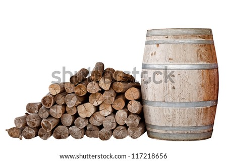 Dry firewood and wooden tank isolated - stock photo