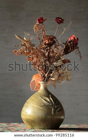 Dry floral decoration Dry floral decoration in vase, natural light - stock photo
