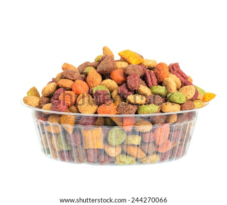 Dry food for animals. isolated - stock photo