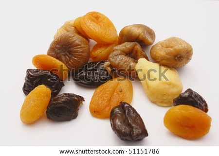 dry fruits on the white background - stock photo