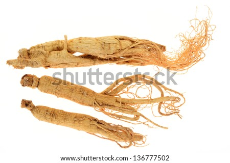 Dry Ginseng Roots For Medical Use - stock photo