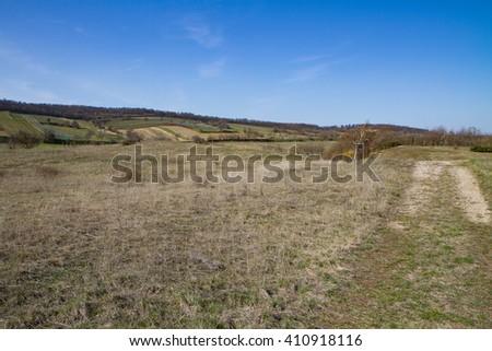 dry grassland at lake Neusiedler See - stock photo