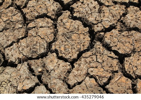 Dry Ground Texture, Drought, the ground cracks, no hot water - stock photo