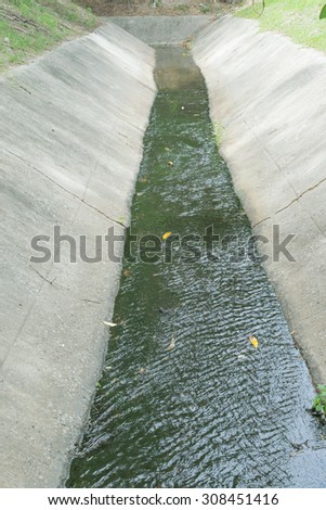 Dry irrigation canals in the thailand - stock photo
