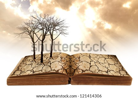 dry land texture with dead tree on old book. global warming concept - stock photo