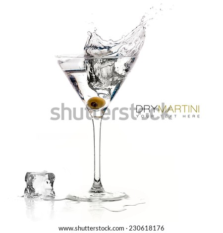 Dry martini cocktail with big splash isolated on white background. Design template with sample text - stock photo