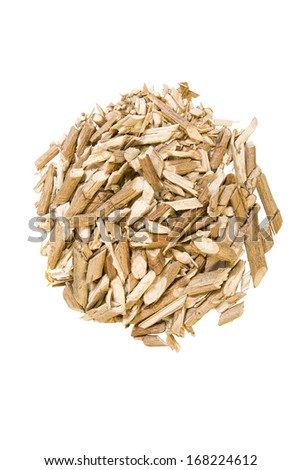 dry medicinal viburnum branches isolated on white background (bark)