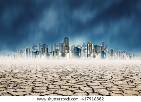 "dry mud which lack of water on city background,expression on ""EL nino"" climate effect"