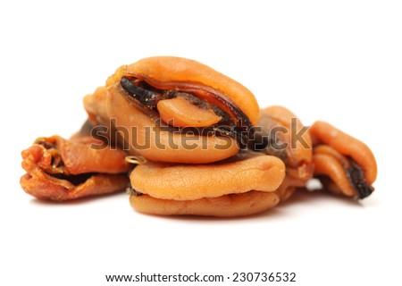 Dry Mussel on white background  - stock photo
