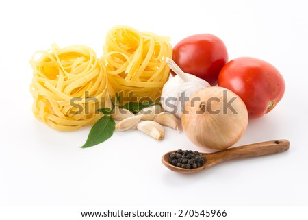 dry pasta spaghetti with ingredient - stock photo