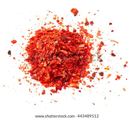 Dry pepper spice isolated on white background - stock photo