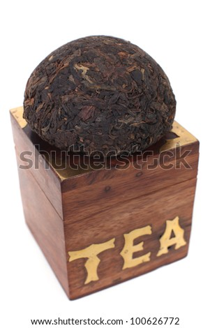 Dry pu-erh tea - stock photo