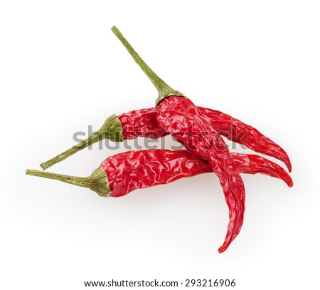 Dry red chili peppers isolated on white background with clipping path - stock photo