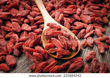 dry red goji berries for a healthy diet - stock photo