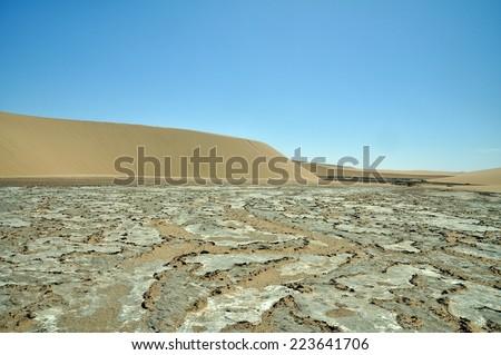 Dry river bed in Namib Desert, Namibia - stock photo