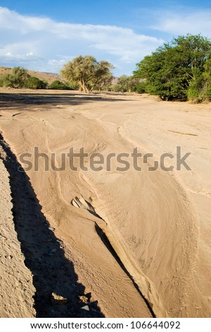 Dry River Bed of Huab - stock photo