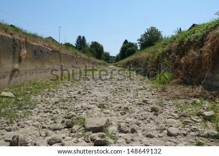 dry riverbed - stock photo
