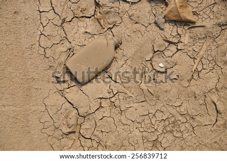 Dry soil and bottle - stock photo