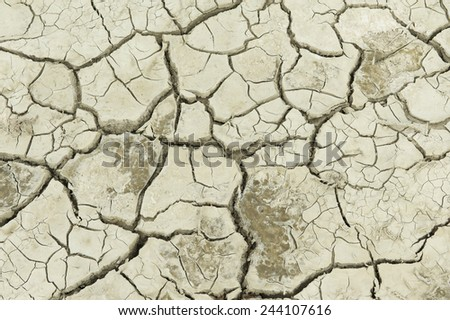 Dry soil at the former sea bed of the Aral sea, Aralsk, Kazakhstan. Evaporation of formerly one of four largest lakes in the world is considered one of the planet's worst environmental disasters. - stock photo