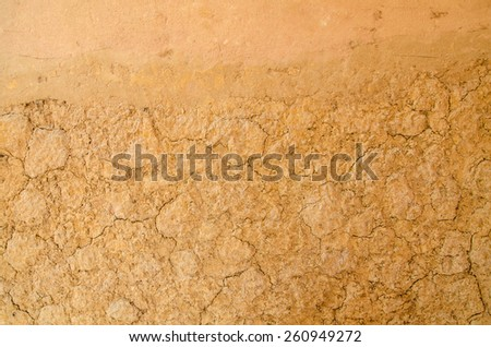 Dry soil surface cracks. - stock photo