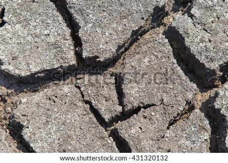 Dry soil with dramatic cracks caused by the lack of water - stock photo