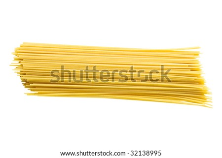 Dry spaghetti isolated on a white background with clipping path - stock photo