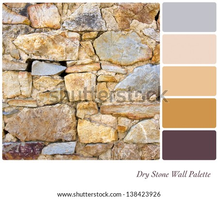 Dry stone wall background colour palette with complimentary swatches. - stock photo