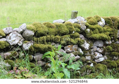 Dry Stone Wall With Sheep on Hilltop in Yorkshire Dales.