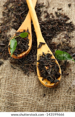 Dry tea with green leaves in wooden spoons, on burlap background