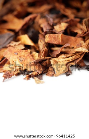 Dry tobacco leaves isolated on white with space for text