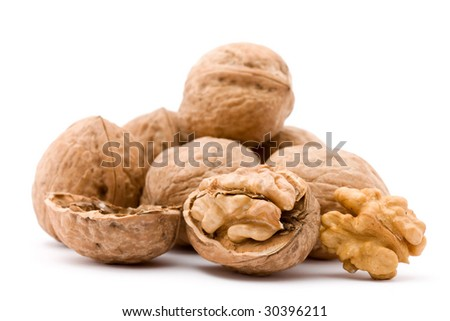 dry walnut fruit studio isolated closeup - stock photo