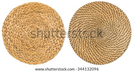 Dry Water Hyacinth, Handmade Wicker placemat surface top view texture Isolated on white background - stock photo