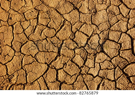 Dry weathered desert soil background with pattern of cracks - stock photo