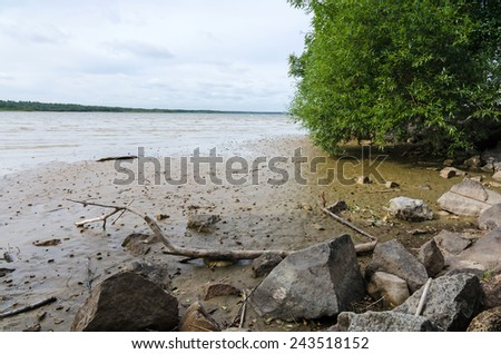 Drying lake in southern Sweden - stock photo