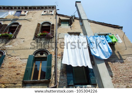 drying laundry in Venice - stock photo