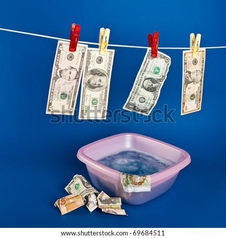 Drying of money after aundering - stock photo
