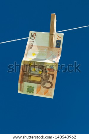 Drying of money after laundering. - stock photo