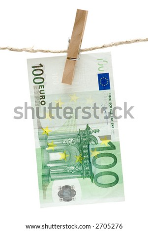 Drying One Hundred Euro - stock photo
