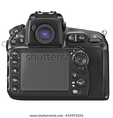 DSLR camera with large LCD display, back view. 3D graphic - stock photo