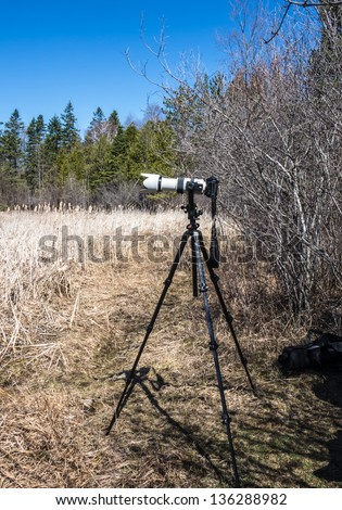 DSLR camera with long telephoto lens mounted on a tripod - stock photo