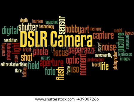 DSLR Camera, word cloud concept on black background. - stock photo