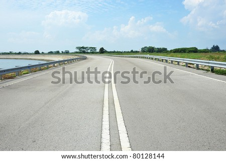 Dual Carriage Road With Double White Lines - stock photo